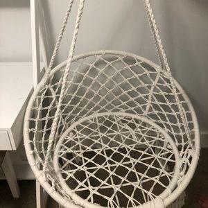Indoor, outdoor hanging chair.